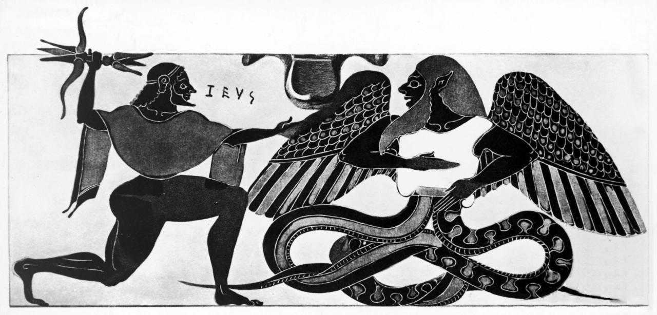 Битва Зевса и Тифона. Вазопись, ок. 550 до н. э. Ваджра