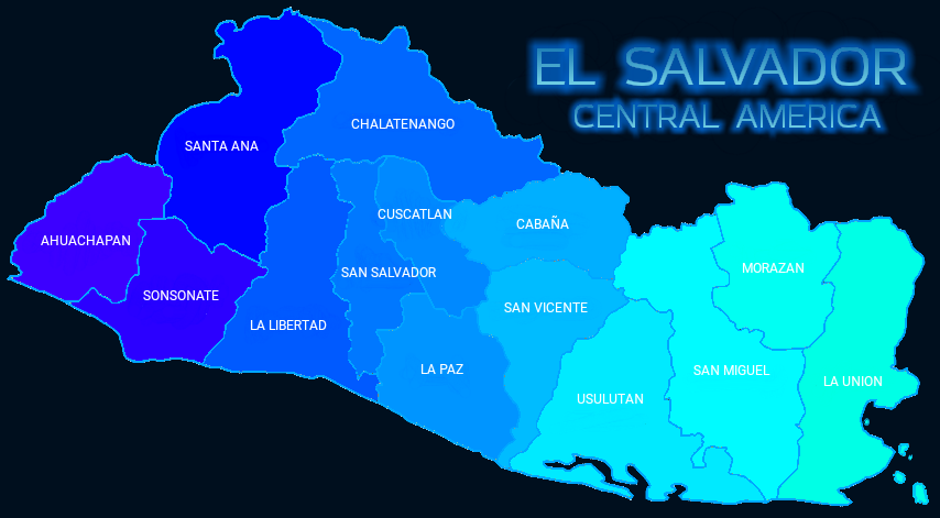 El Salvador Departments Map Mapa Departamentos El Salvador