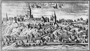 "Engraving of the monastery from the ""Churbaierischen Atlas"" by Anton Wilhelm Ertl 1687"