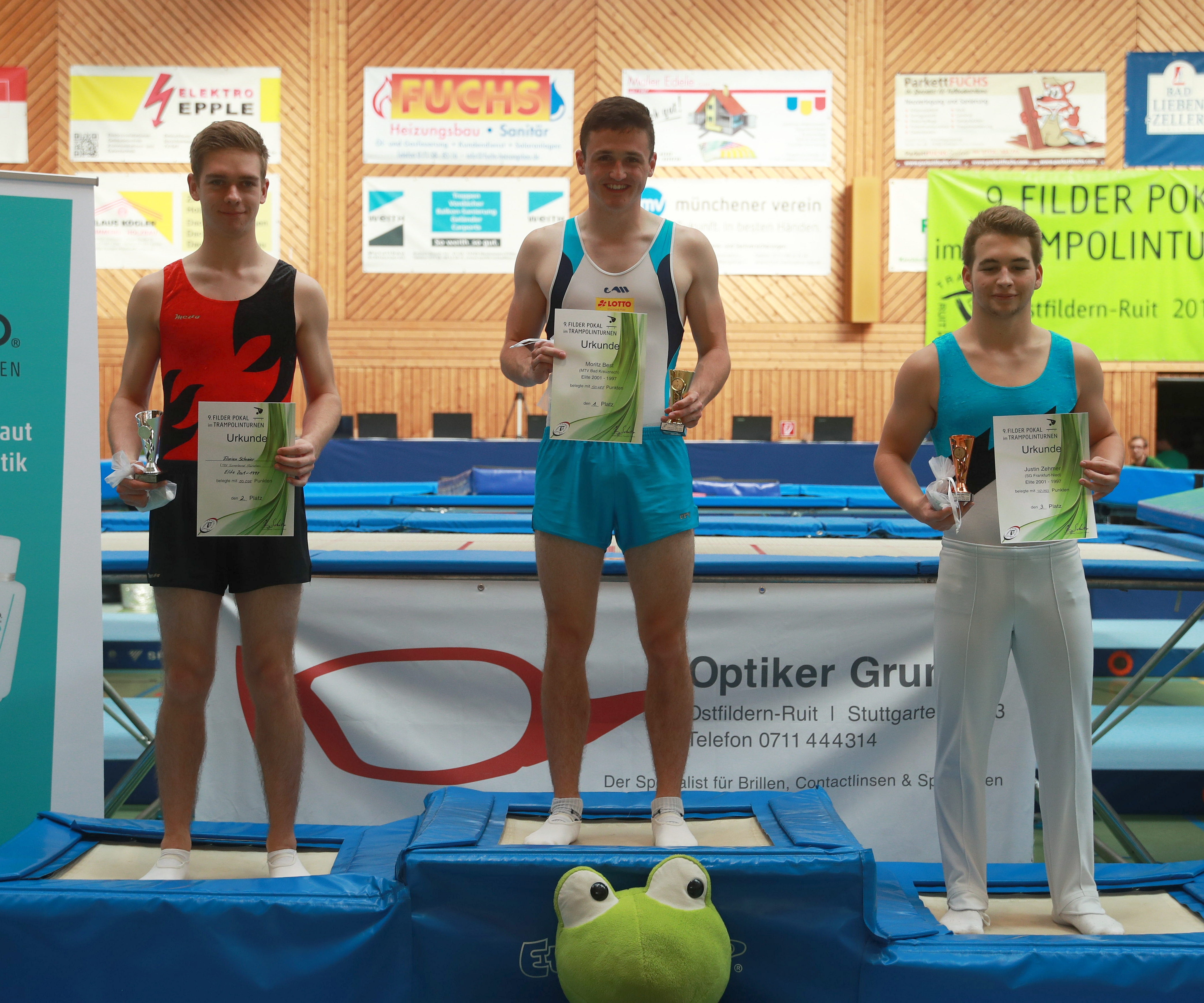 Trampolinturnen 2018 in Ruit. Abgebildet: Florian Schreier. Justin Zehmer. Moritz Best. Date 30 June 2018 Source Own work Author Martin Rulsch, Wikimedia Commons