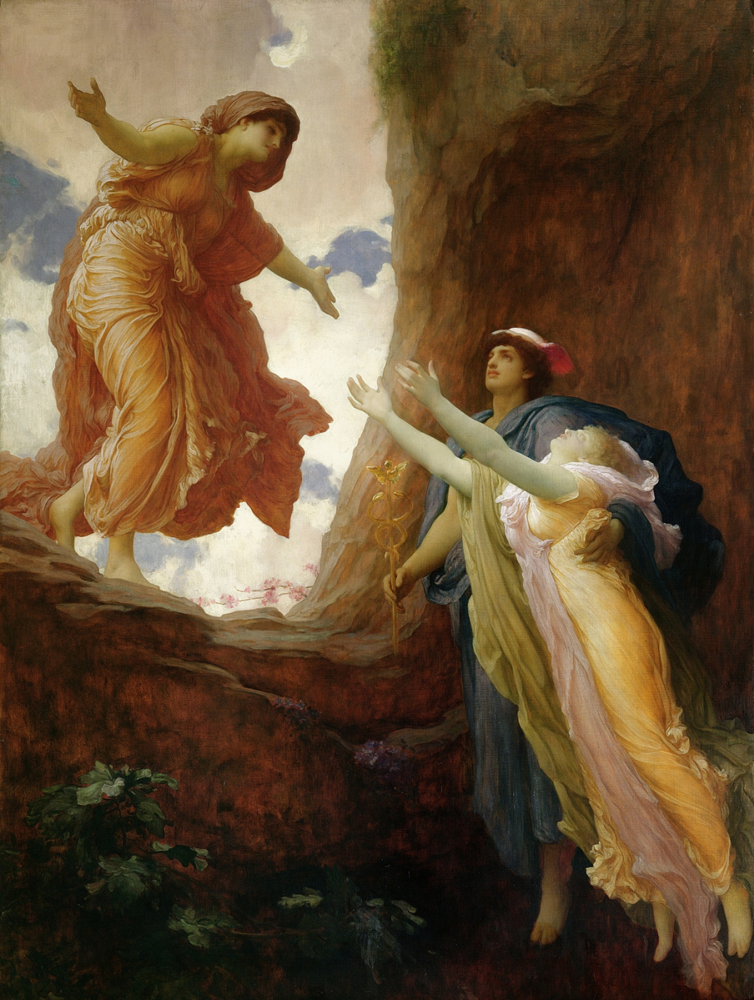 An image of Hermes returning Persephone to her mother, Demeter. By Frederic Leighton.