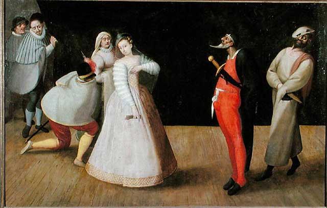 Gemälde des Hieronymus Francken - Die Compagnia dei Comici Gelosi bei einer Aufführung in Paris
