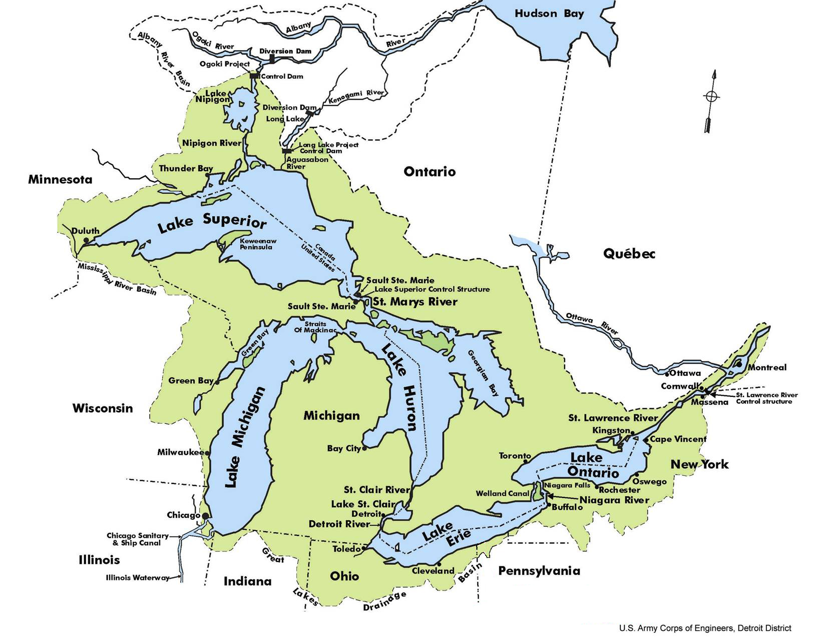 United States Map With Lakes.Lake Erie Basin Wikipedia