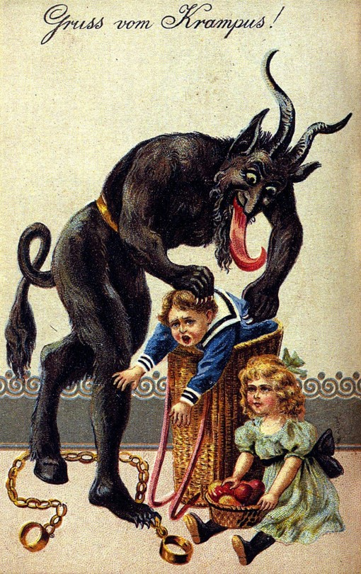 In German-speaking Alpine folklore, Krampus is a horned, figure who punishes children during the Christmas season who have misbehaved.