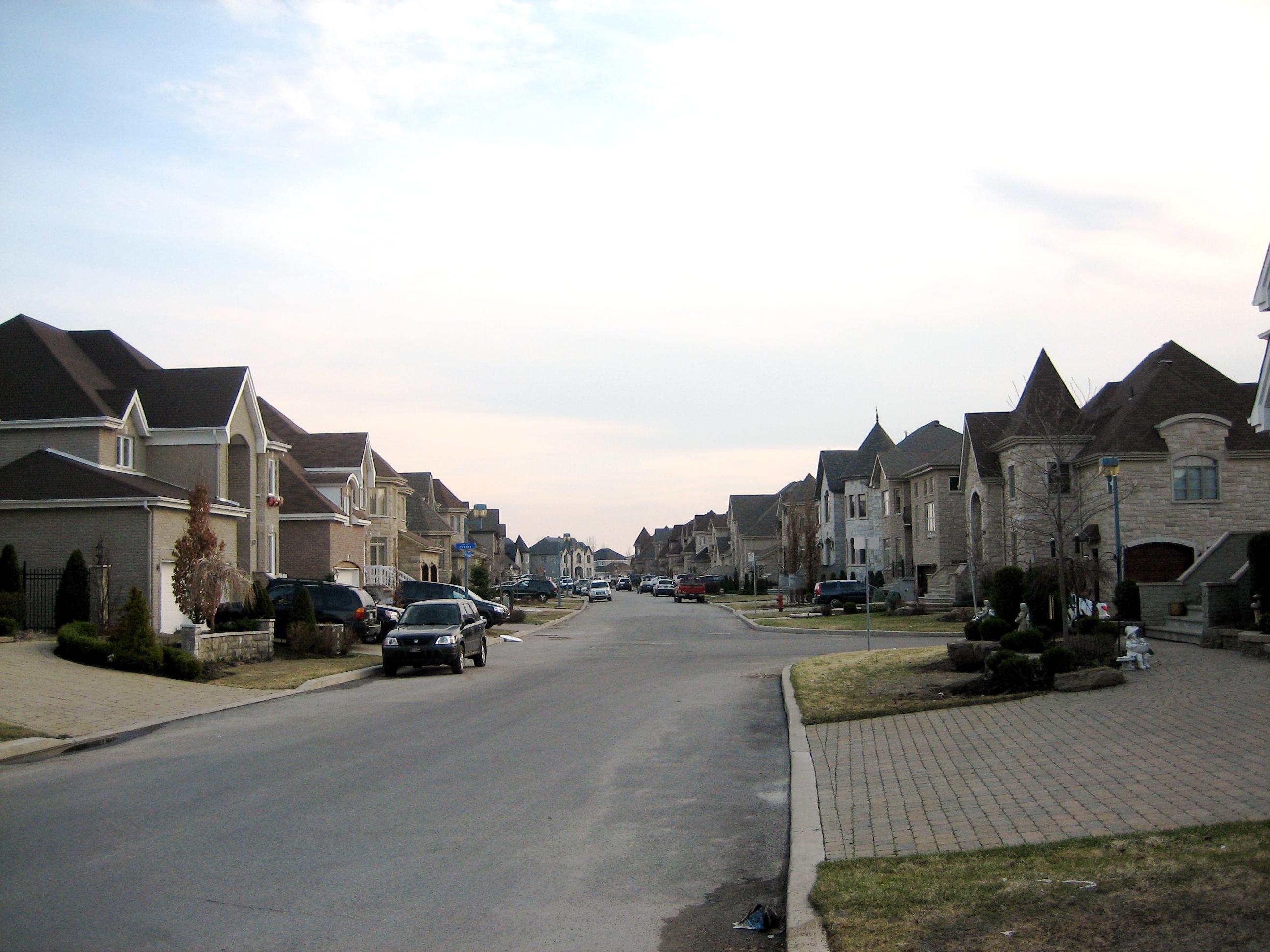 A street of lookalike houses