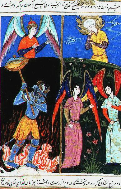 The Islamic prophet Idris is shown the afterlife places by an angel. In hell, the inmates are tormented by a demon. Idris the prophet.jpg