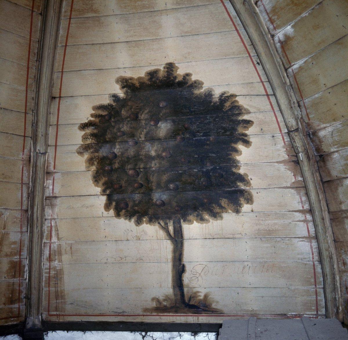 File:Interieur, detail van gewelfschildering op houten gewelf, boom ...