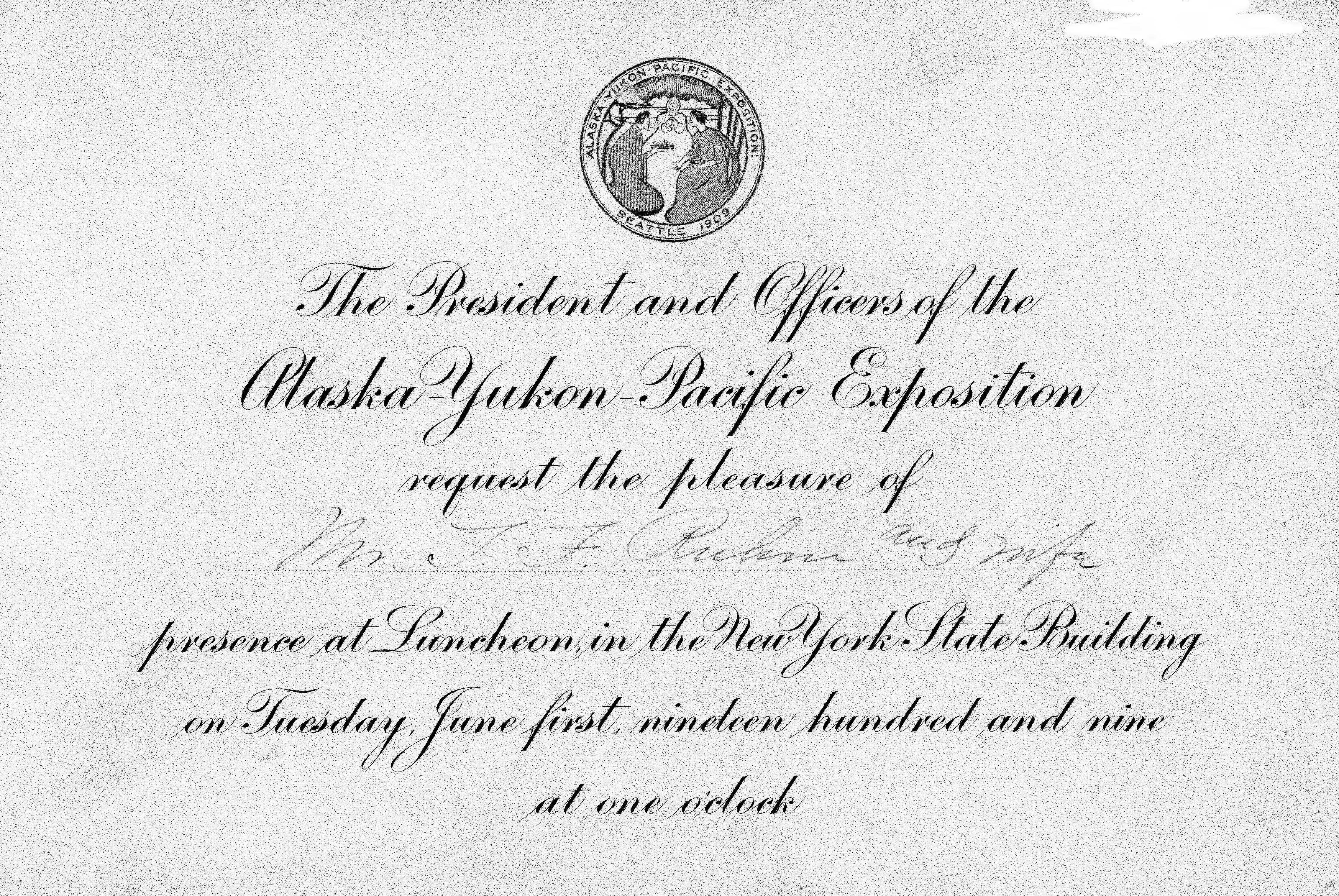 Fileinvitation and admission card from the president and officers fileinvitation and admission card from the president and officers of the alaska yukon stopboris Gallery