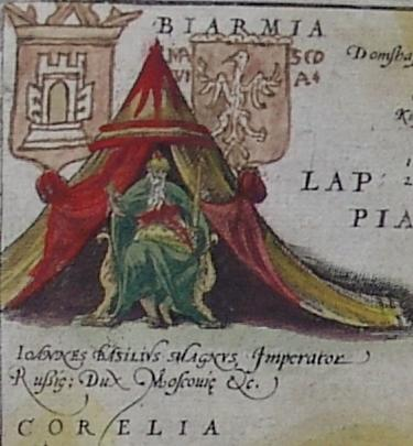 Иоанн Васильевич Великий, император Русии, князь Московии. С карты Ортелия 1574 года