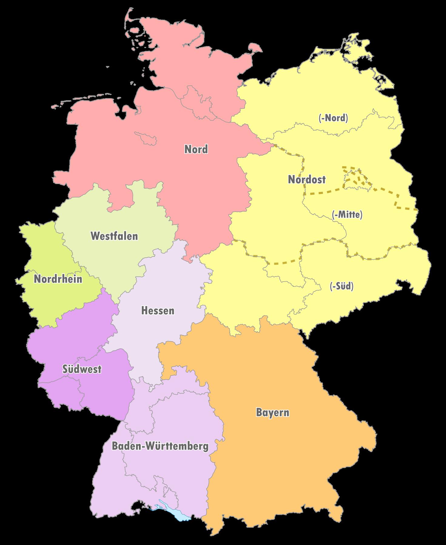 Geografische Einteilung der Oberligen zur Saison 1991/92