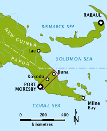 Colour map depicting the location of the Kokoda Trail within New Guinea. The country is wide in the west, on the left of the map and narrows to a peninsula in the east on the right of the map. The Kokoda Trail stretches from Port Moresby on the southern coast to the village of Kokoda