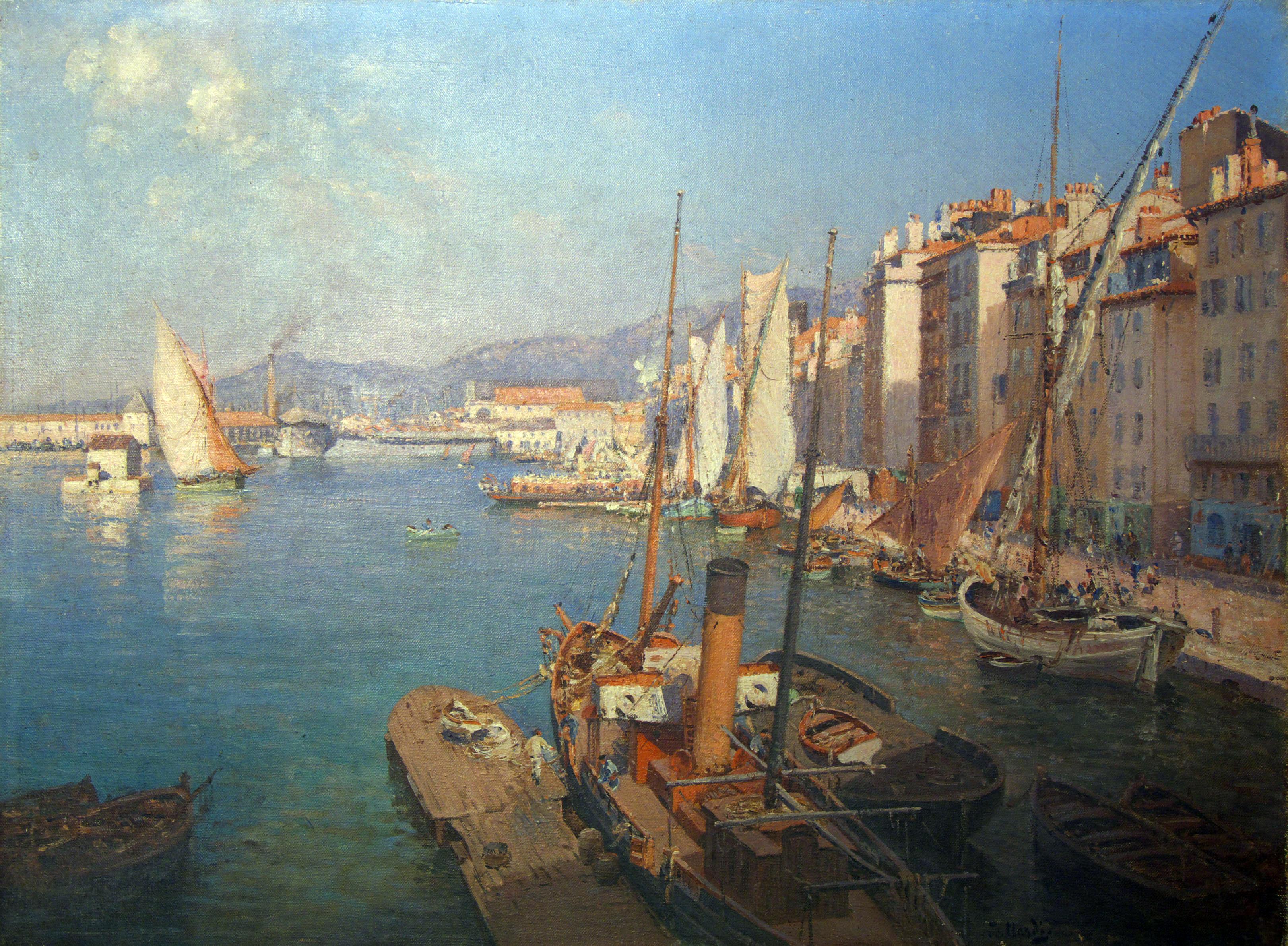 Matin sur le port - Albert Samain Le_port_de_Toulon%2C_le_matin%2C_avec_le_courrier_des_%C3%AEles_d%27Or_%C3%A0_l%27embarcad%C3%A8re