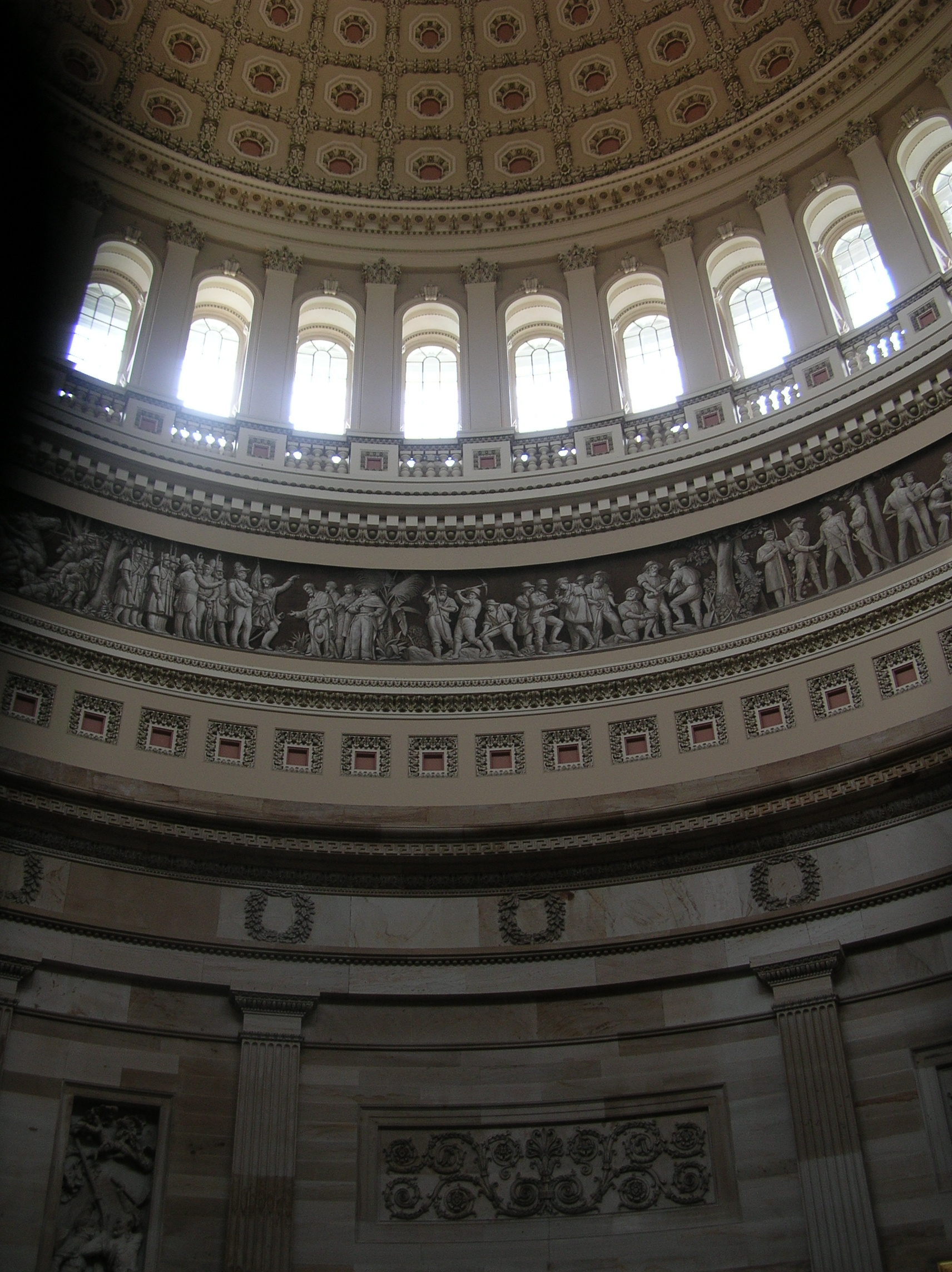 File:Low area of US Capitol dome and wall below from ...