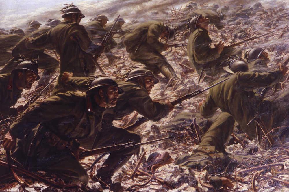 Conquista di Quota 85 da parte del 3 Battaglione Bersaglieri Ciclisti.  Dipinto di Luigi Stracciari 5d36712766f5