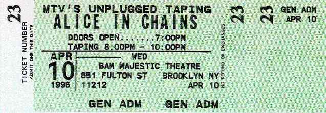 ALICE IN CHAINS MTV UNPLUGGED Concert Ticket VINYL Decal//Sticker 4//10//96 4.5x2.5
