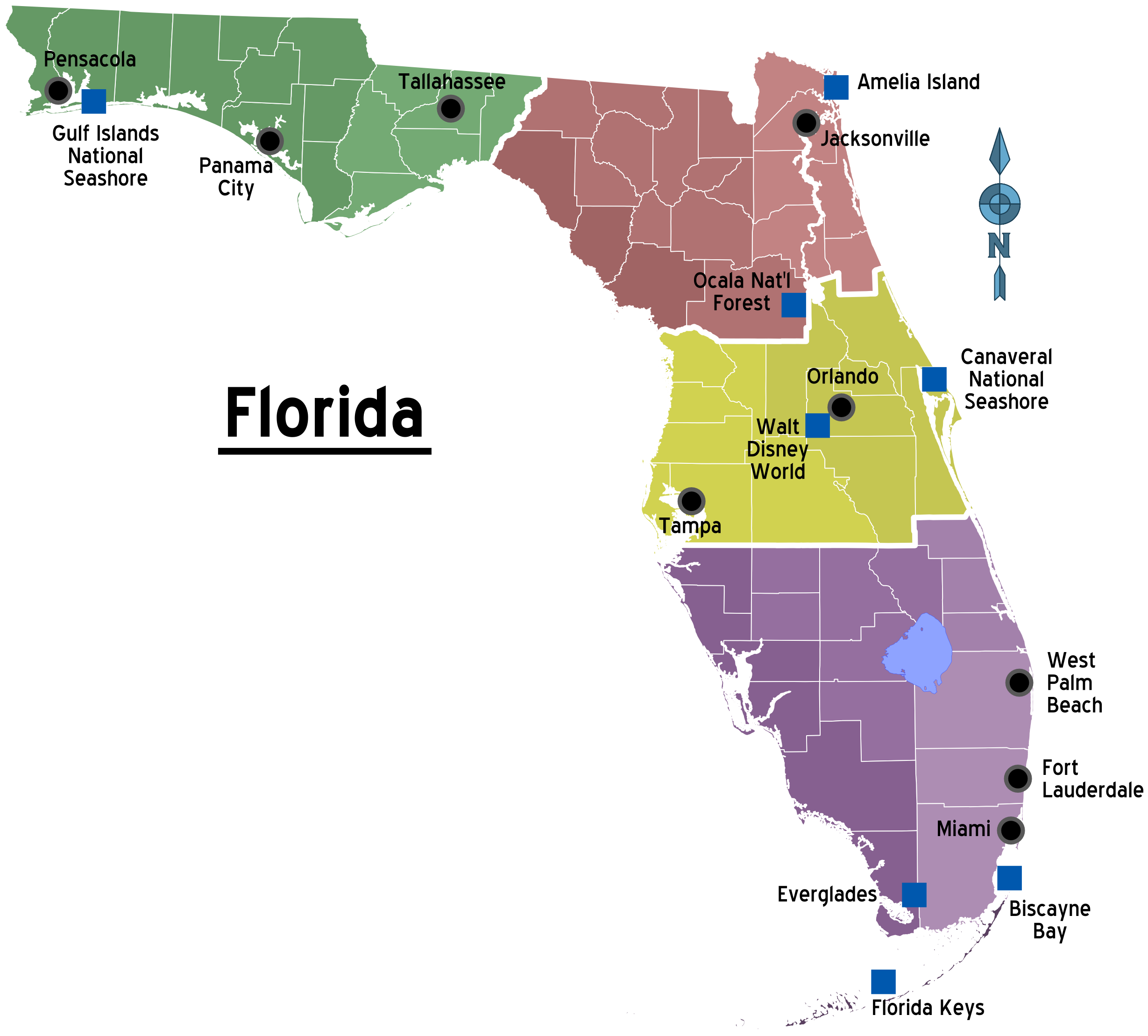 FileMap Of Florida Regions With Citiespng Wikimedia Commons - Map of northern florida cities