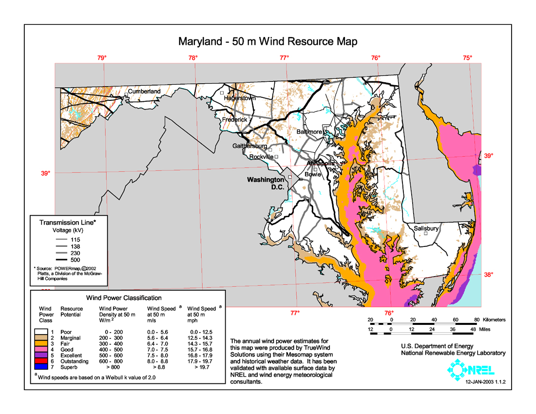 Wind Power In Maryland Wikipedia - Us wind energy map