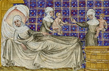 The Birth of Esau and Jacob (c. 1360-1370) by Master of Jean de Mandeville. Origen used the Biblical story of Esau and Jacob to support his theory that a soul's free will actions committed before incarnation determine the conditions of the person's birth. Master of Jean de Mandeville The Birth of Esau and Jacob.jpg