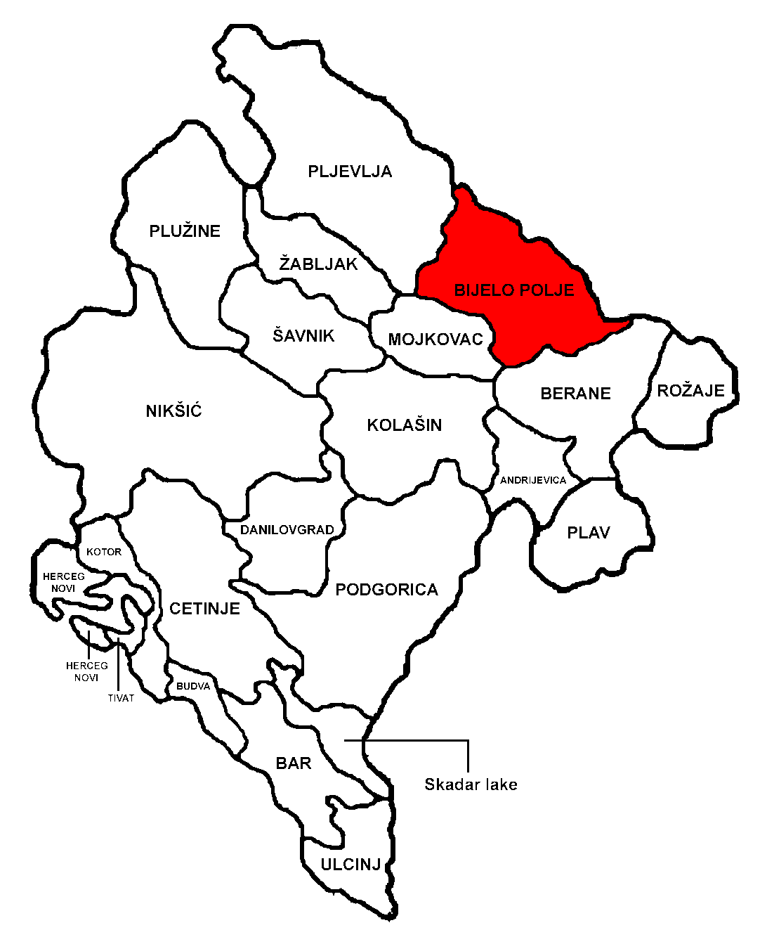 Bar Montenegro Karte.Bijelo Polje Municipality Wikipedia