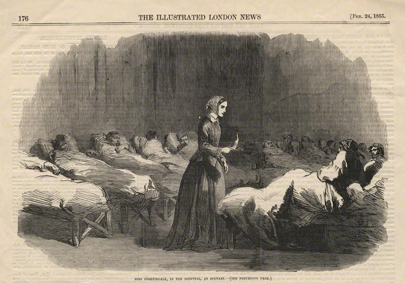 看護婦として戦傷兵を見舞うナイチンゲール(1855年)Wikipediaより