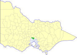 Location of the Shire of Bulla within Victoria.