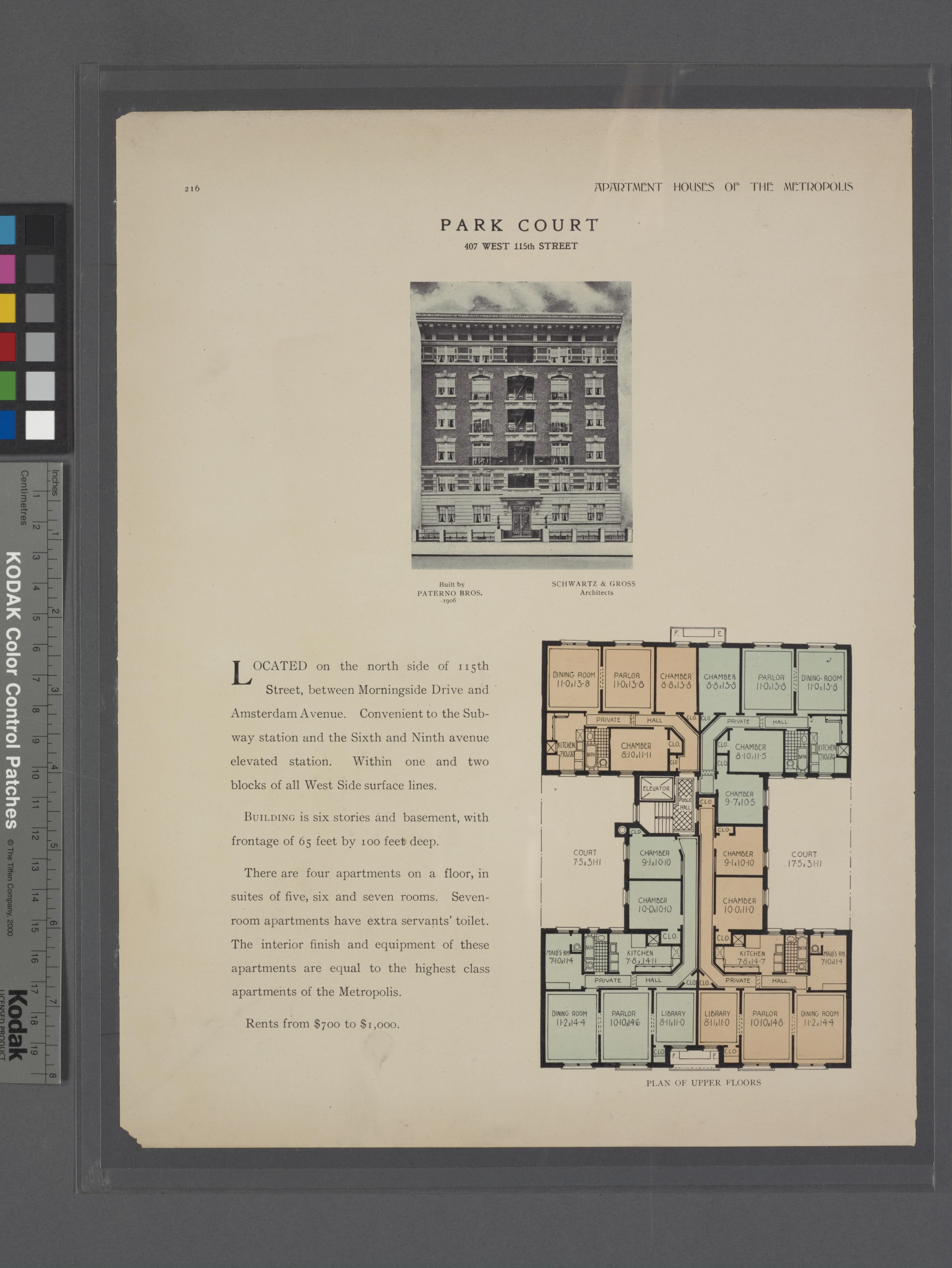 Filepark Court 407 West 115th Street Plan Of Upper Floors Nypl Schematic Diagram 7230
