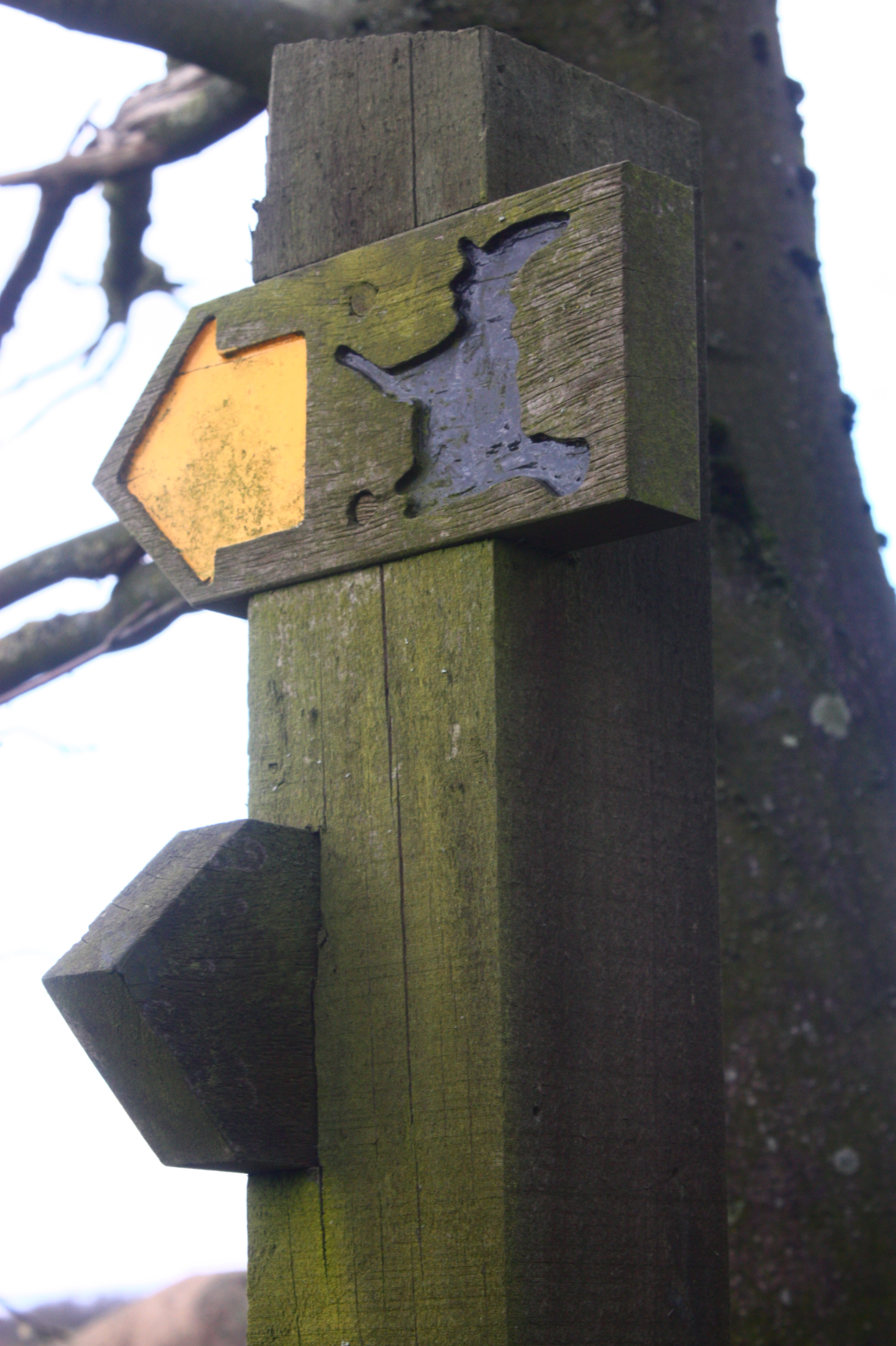 An image of a waymark on the Pendle Way.