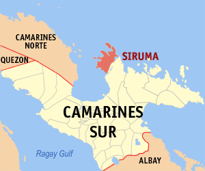 Map of Camarines Sur showing the location of Siruma