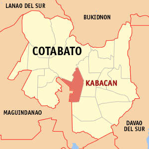 Map of Cotabato showing the location of Kabacan