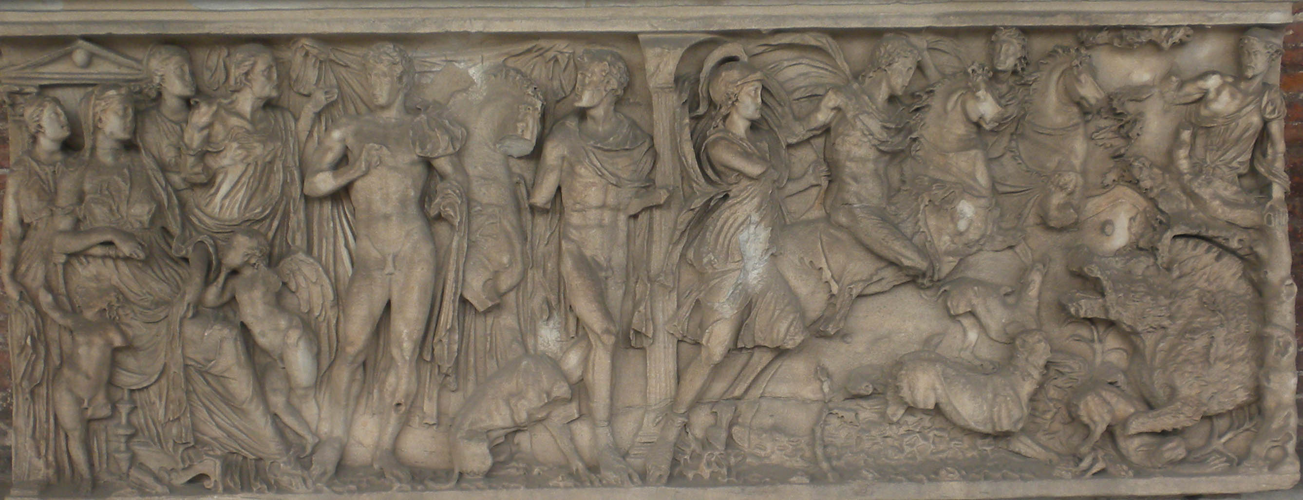 Romersk sarkofag visende myten om Faidra og Hippolytos.