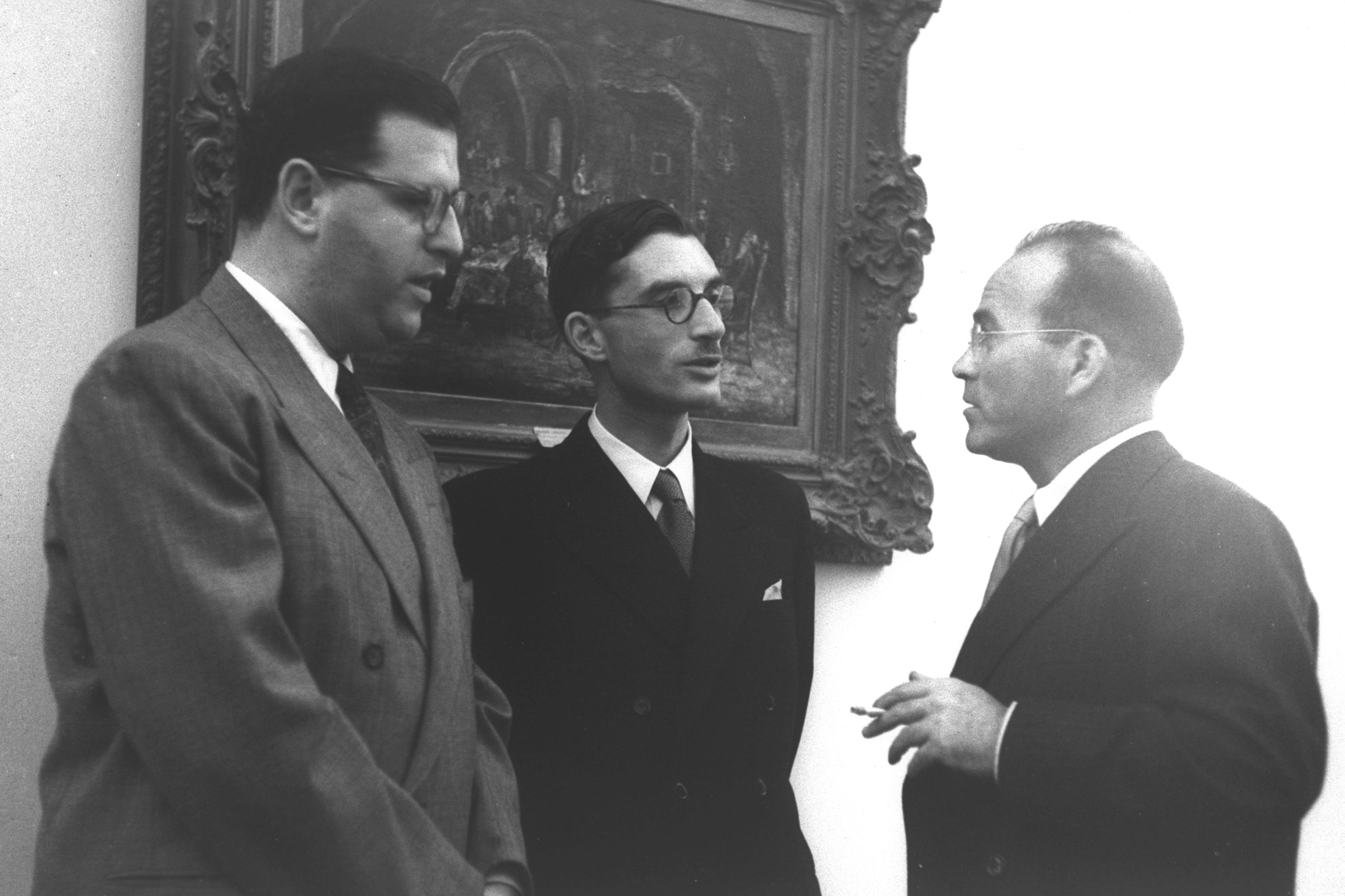 Israeli foreign ministry officials (from left) [[Abba Eban]], Shabtai Rosenne, and [[Reuven Shiloah]], July 1949.