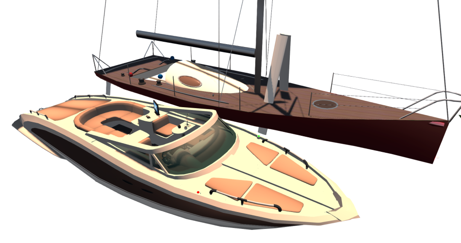 A mesh boat (left) compared to a prim boat (right)