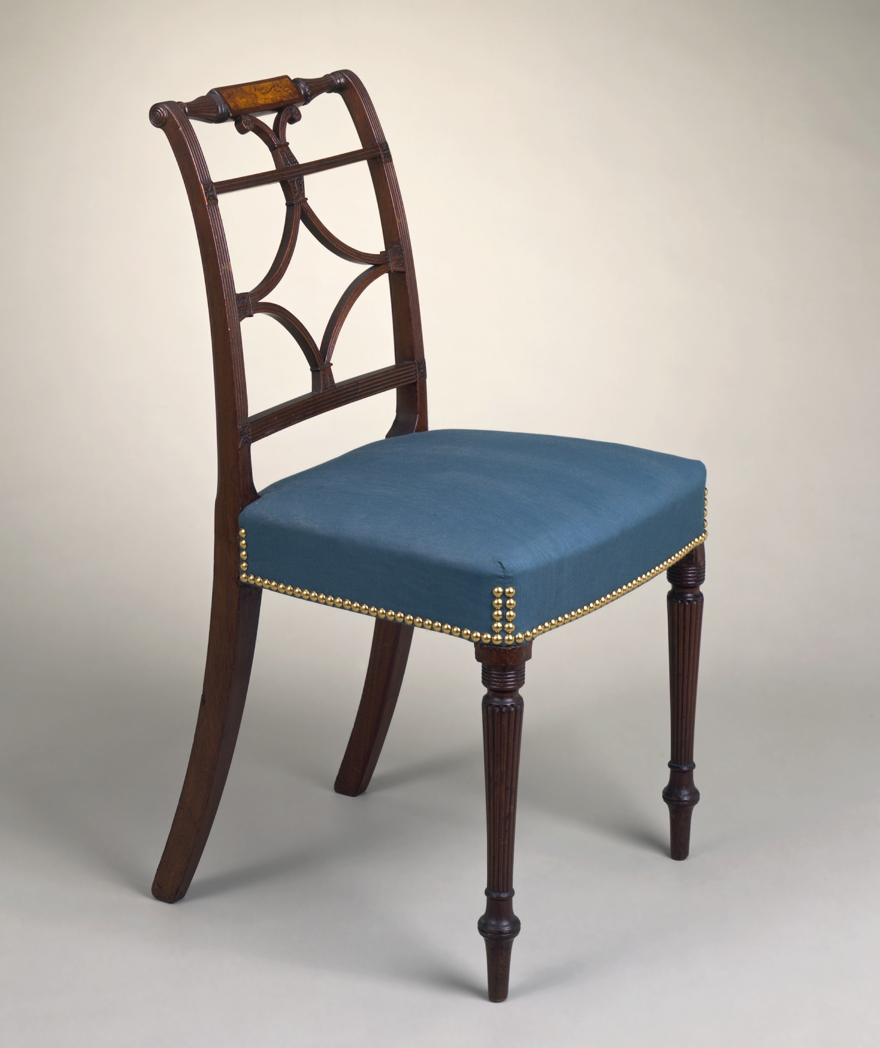 File scroll back side chair with inlaid rail and reeded for Chair chair chair