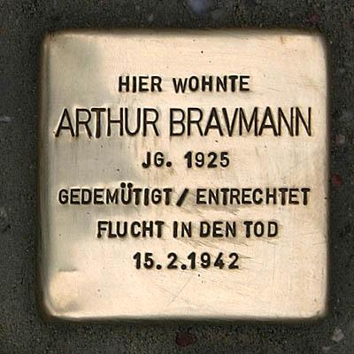 Stolperstein Palmstraße 13 Arthur Bravmann