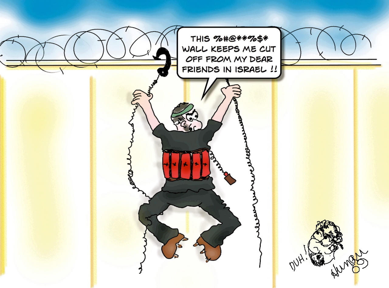 Barry Hunau's cartoon of a suicide bomber scaling a wall.