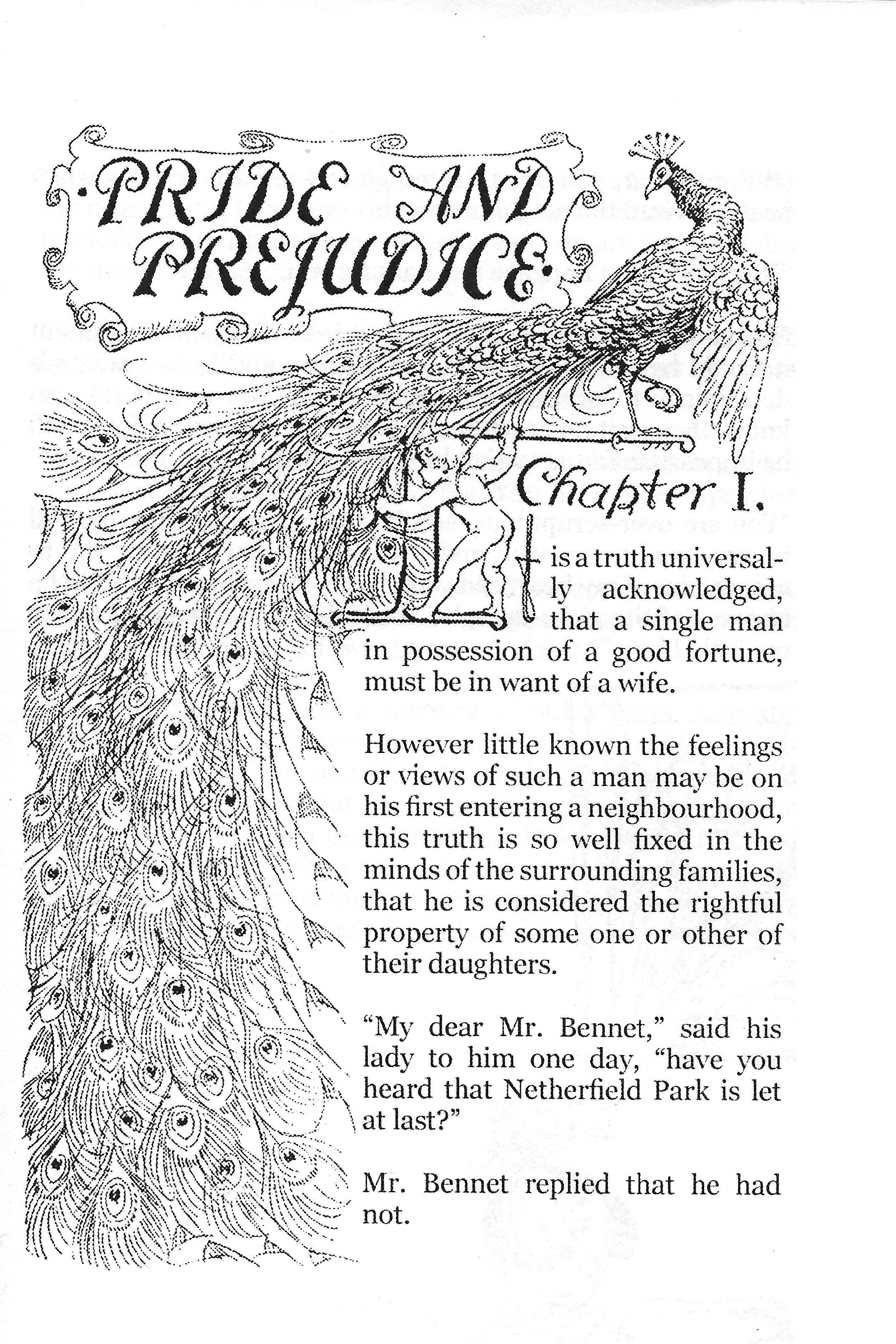 Pride and Prejudice first page, early edition