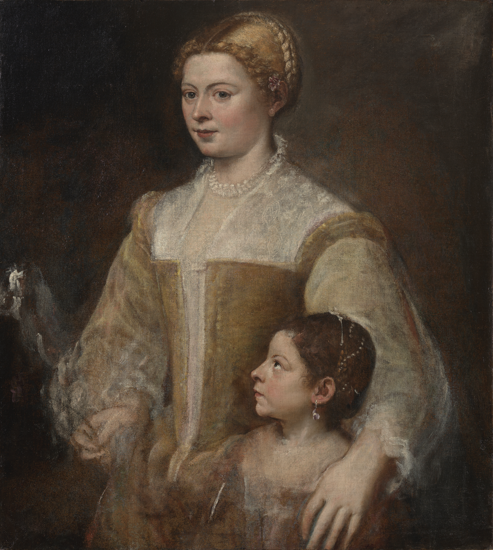 Titian (Tiziano Vecellio), Portrait of a Lady and her Daughter.png
