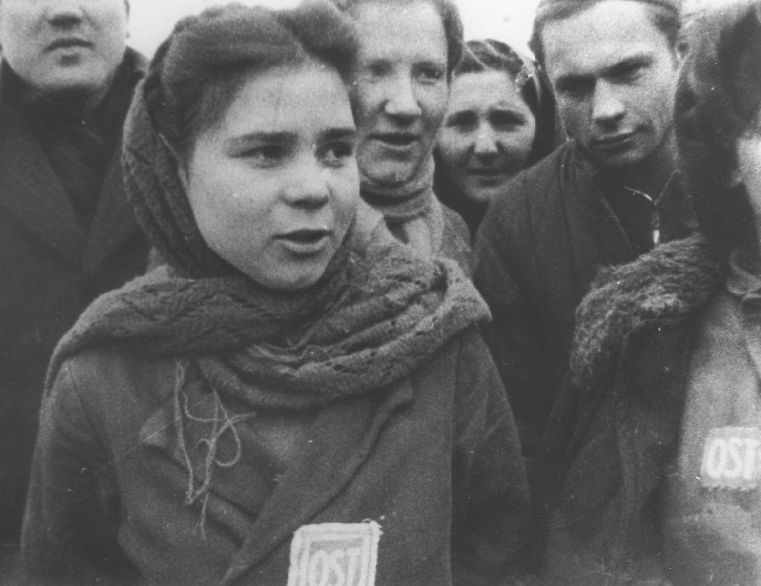 Female forced laborers wearing