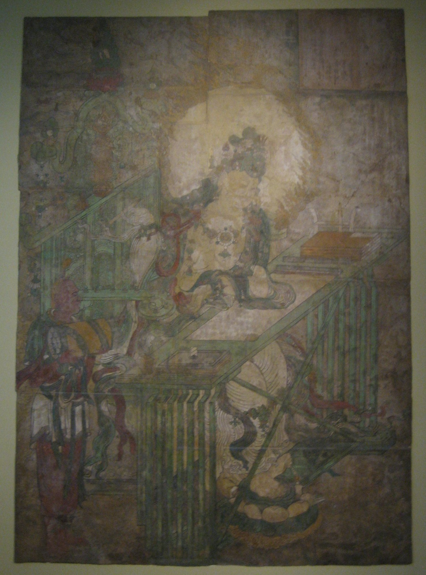 File wenshu bodhisattva of wisdom at writing table for Chinese mural painting