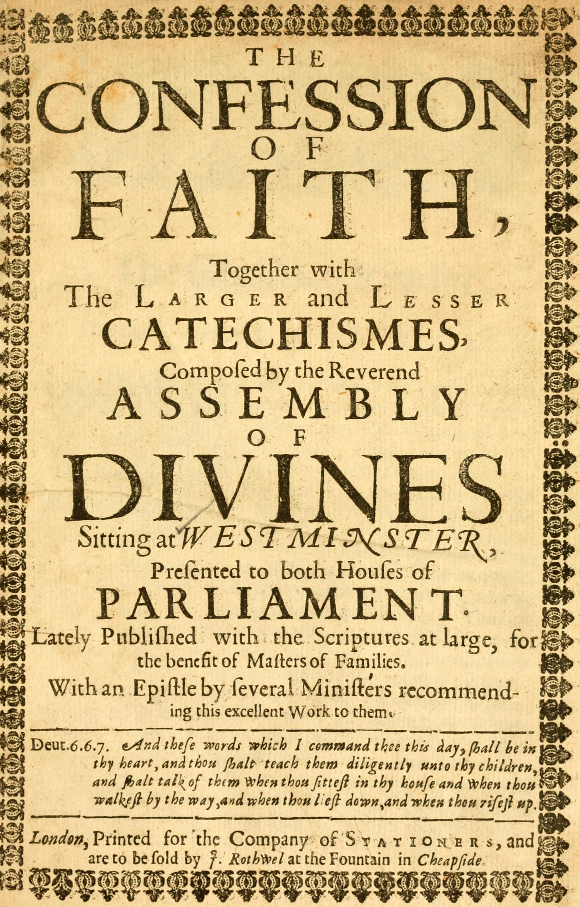 picture regarding Westminster Shorter Catechism Printable titled Westminster Expectations - Wikipedia