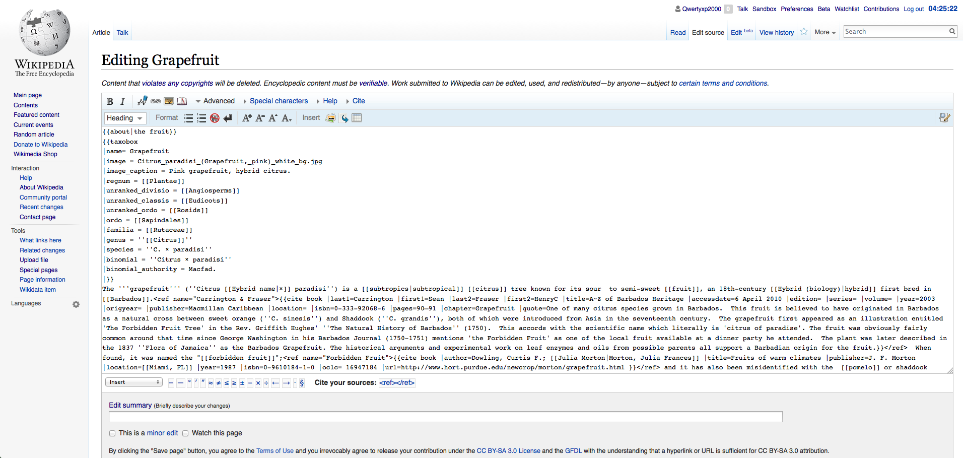 The editing interface of Wikipedia