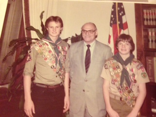 Photo of Ahlquist receiving the Eagle Scout award. Young Tommy.jpg