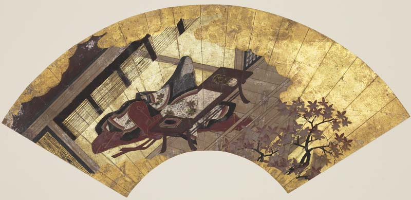 'Lady Murasaki', anonymous ink, color and gold paper fan, 17th century Japan.jpg