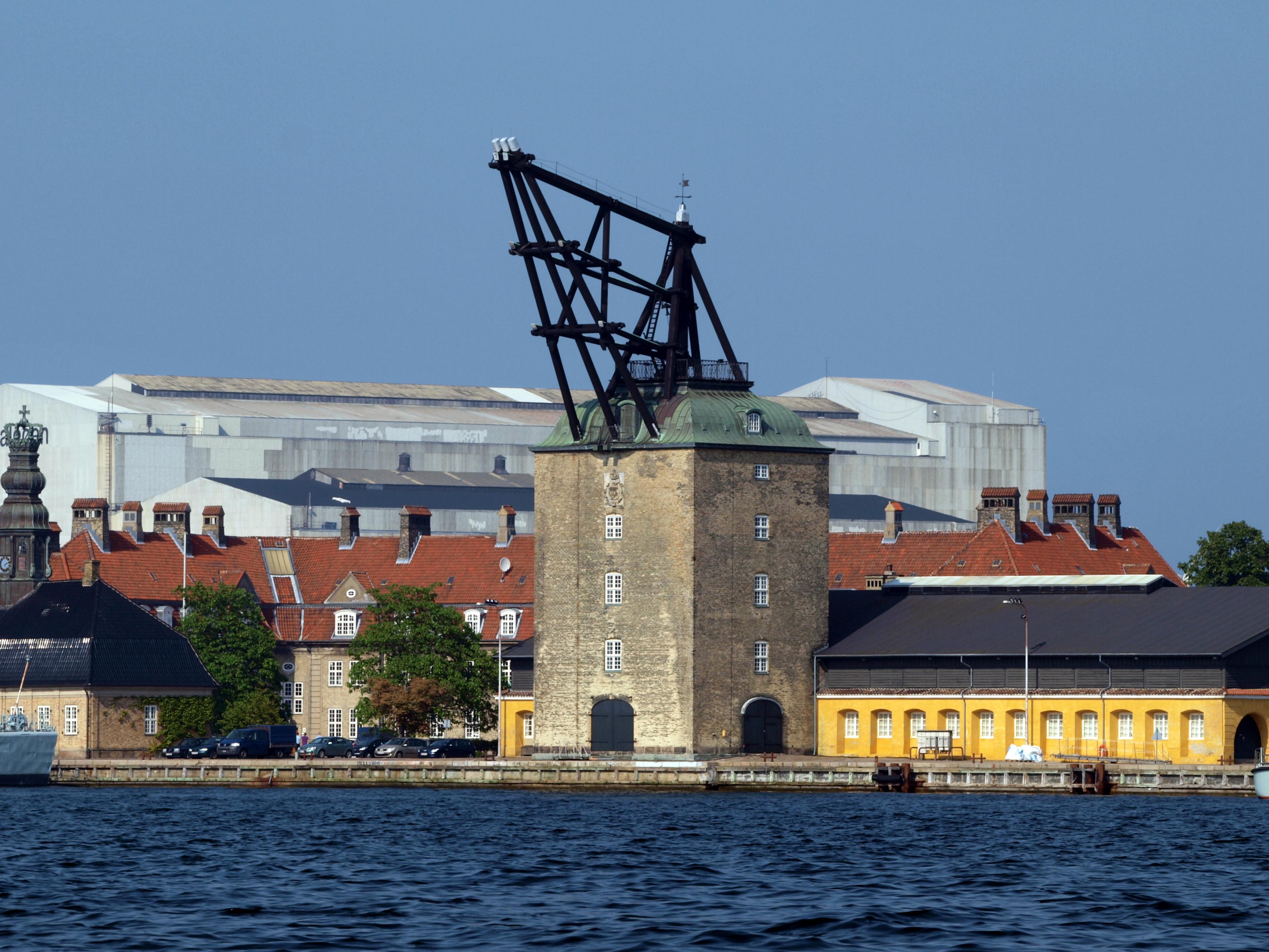 1742 build crane, used for mounting masts to large sailing vessels. copenhagen, denmark, mastekranen, holmen. copenhagen, denmark.jpg