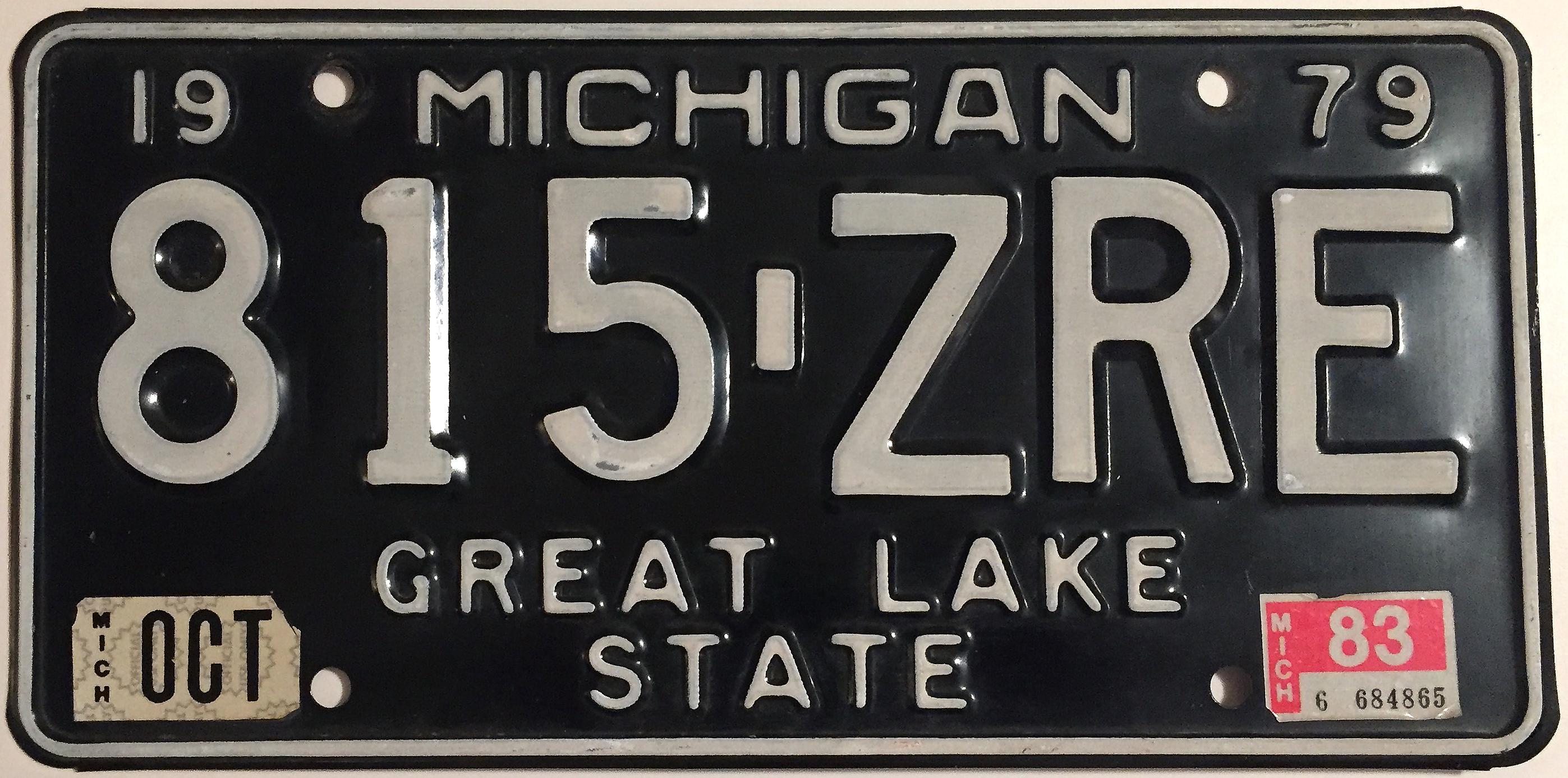 File:1983 Michigan License Plate.JPG - Wikimedia Commons