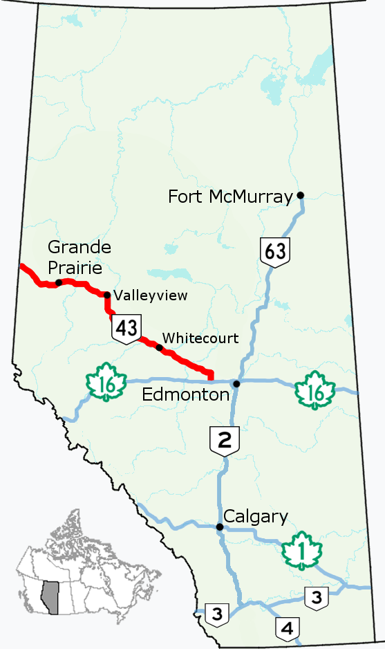 Alberta Highway 43 - Wikipedia on driving the alcan highway, 1 4 mile highway, peace river canada alcan highway,