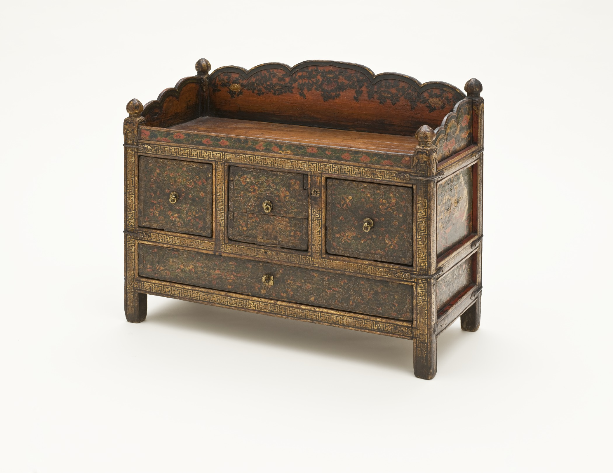 file book stand and chest pegam with scholar and arhat