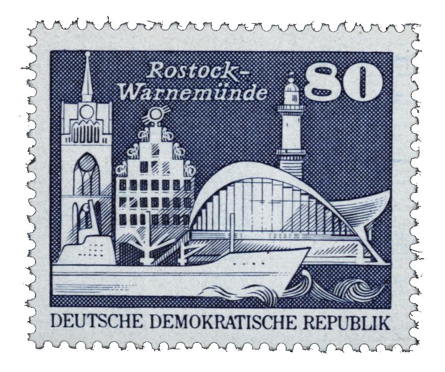 Die Heimat auf Briefmarke Briefmarke_DDR_-_Rostock-Warnem%C3%BCnde_80