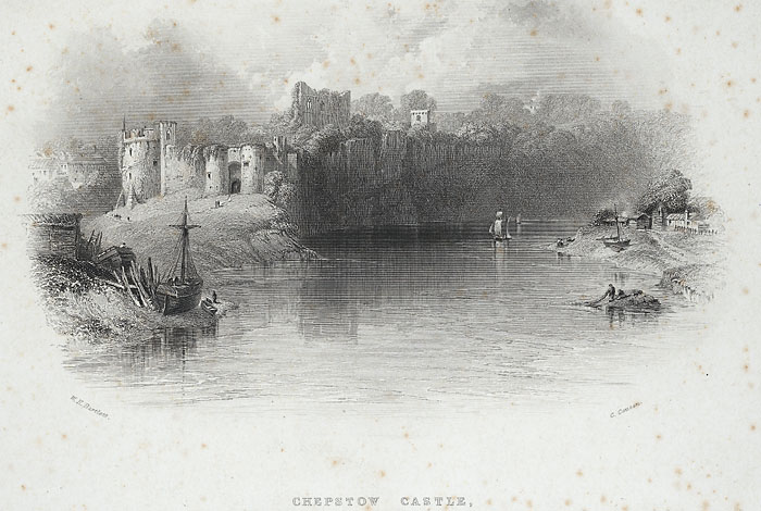 Chepstow Castle, from the Iron Bridge across the Wye