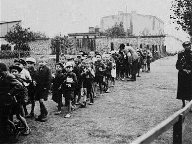 Jewish children during deportation to the Chelmno extermination camp Children headed for deportation.JPG